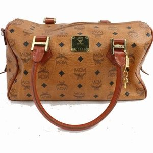 MCM Cognac Monogram Visetos Boston 870972